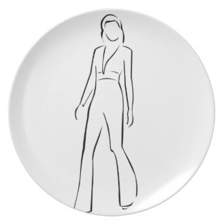 Girl posing in fashionable outfit melamine plate