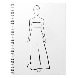 Girl posing in fashionable outfit notebook