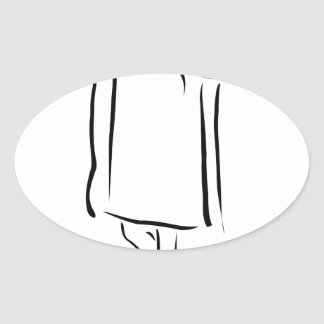 Girl posing in fashionable outfit oval sticker