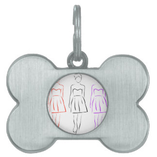 Girl posing in fashionable outfit pet ID tag
