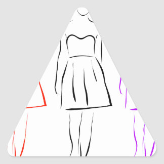 Girl posing in fashionable outfit triangle sticker