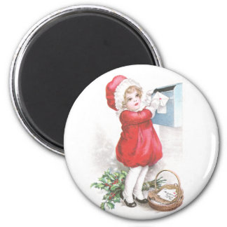 Girl Posting Letters Vintage Christmas 2 Inch Round Magnet
