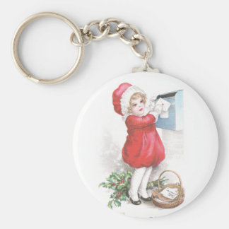 Girl Posting Letters Vintage Christmas Basic Round Button Keychain