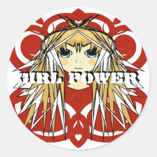Girl Power Anime Ultra Cute Girl Blonde Long Hair Classic Round Sticker