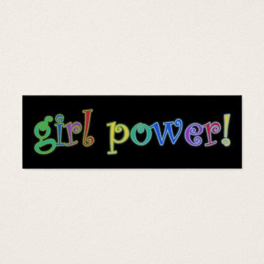 girl power bookmark mini business card