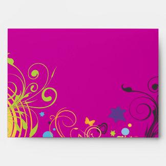 Girl Power Bright Bat Mitzvah Invitation Envelope