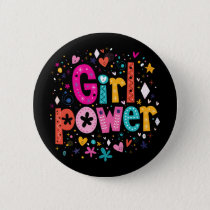 Girl Power Floral Heart Button