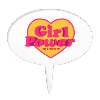 Girl Power Heart Shaped Typographic Design Quote Cake Topper