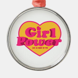 Girl Power Heart Shaped Typographic Design Quote Metal Ornament