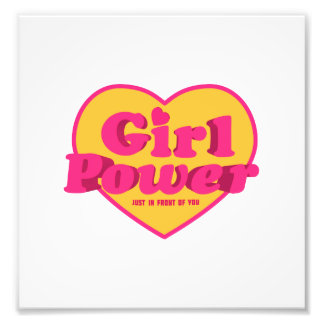 Girl Power Heart Shaped Typographic Design Quote Art Photo