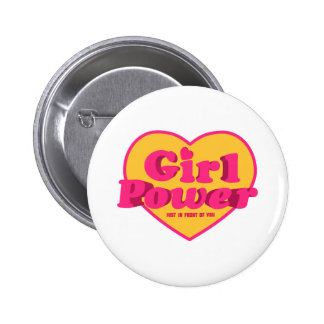 Girl Power Heart Shaped Typographic Design Quote Pinback Button