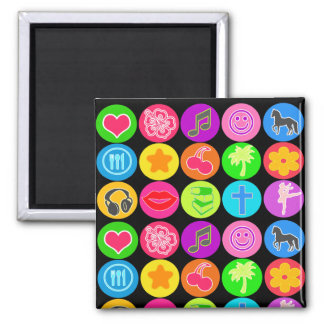 Girl Power Icons 2 Inch Square Magnet