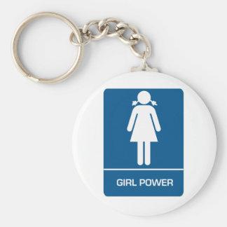Girl Power Restroom Door Basic Round Button Keychain