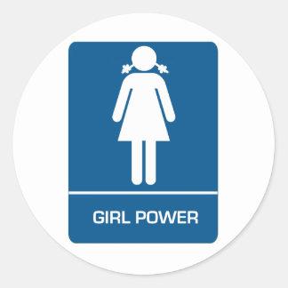 Girl Power Restroom Door Classic Round Sticker