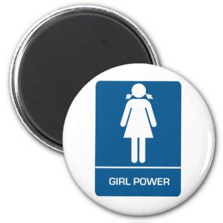 Girl Power Restroom Door 2 Inch Round Magnet