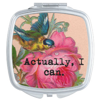 Girl power vintage bird pink roses compact compact mirror