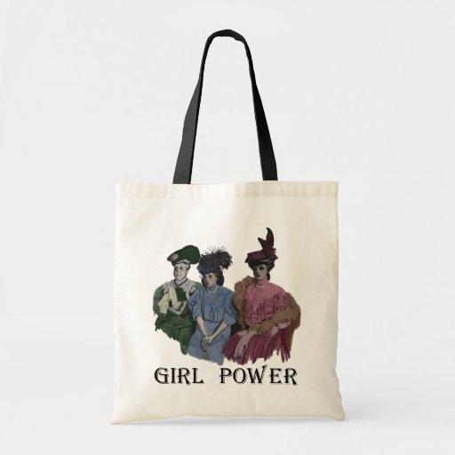 girl_power_vintage_ladies_tote_canvas_bags ...