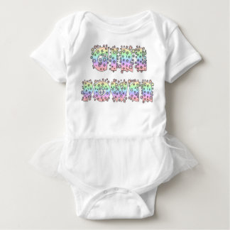 Girl Power with Stars and Sparkles Baby Bodysuit