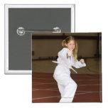 Girl practicing karate pinback buttons
