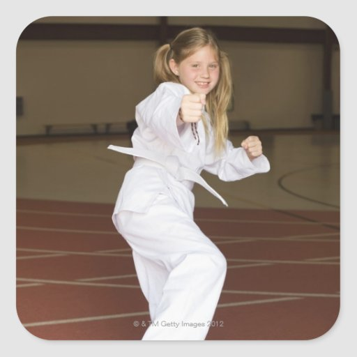 Girl practicing karate stickers