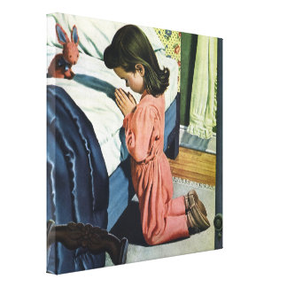 Girl Praying Bedtime, Vintage Christian Religion Stretched Canvas Print