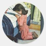 Girl Praying Bedtime, Vintage Christian Religion Stickers