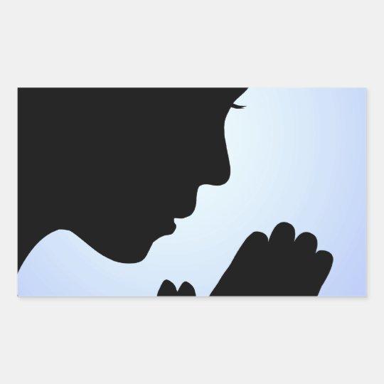 Girl Praying Rectangular Sticker