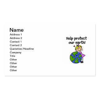 Girl Protect Our Earth T shirts and Gifts Business Card
