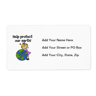 Girl Protect Our Earth T shirts and Gifts Label