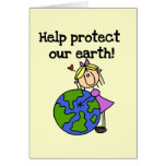 Girl Protect Our Earth Tshirts and Gifts Greeting Card