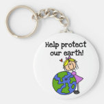Girl Protect Our Earth Tshirts and Gifts Key Chains