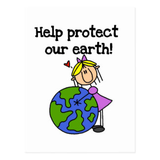 Girl Protect Our Earth Tshirts and Gifts Postcard