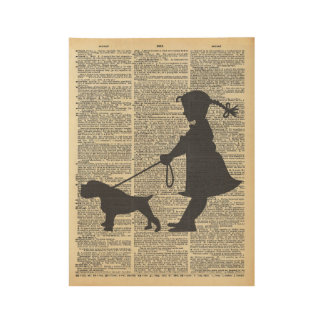 Girl Pulling a Dog on Old Dictionary Page Wood Poster