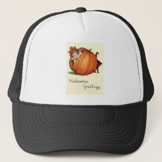 Girl Pumpkin Black Cat Trucker Hat