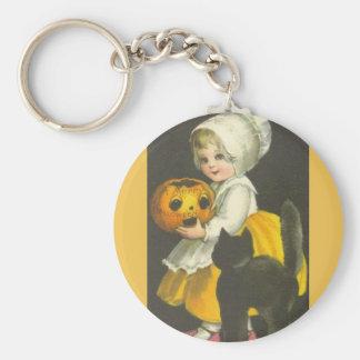 Girl Pumpkin Black Cat Vintage Halloween Keychain