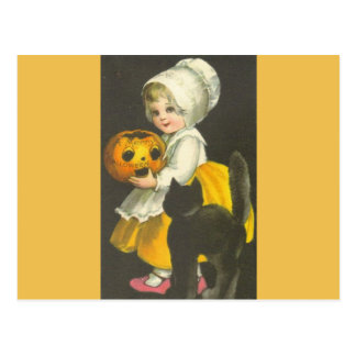 Girl Pumpkin Black Cat Vintage Halloween Postcard