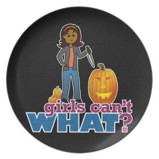 Girl Pumpkin Carver Melamine Plate