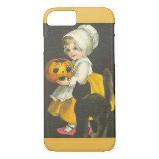 Girl Pumpkin Cat Vintage Halloween iPhone 7 Case