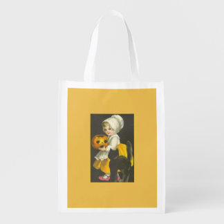 Girl Pumpkin Cat Vintage Halloween Reuseable Bag Grocery Bag