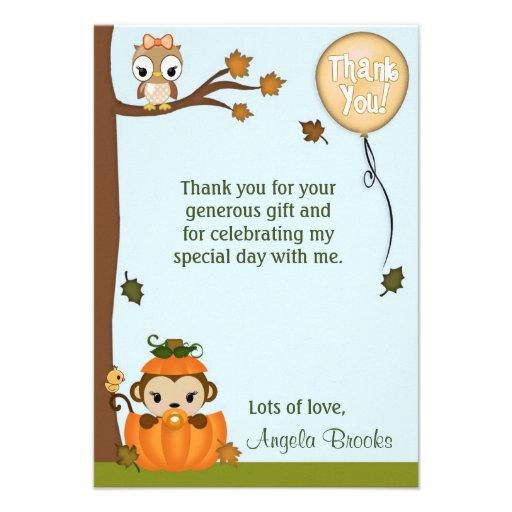"GIRL Pumpkin Monkey (FLAT) Thank You 3.5""x5"" Invitations"