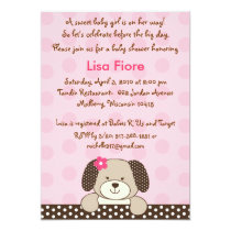Girl Puppy Dog Baby Shower Invitations