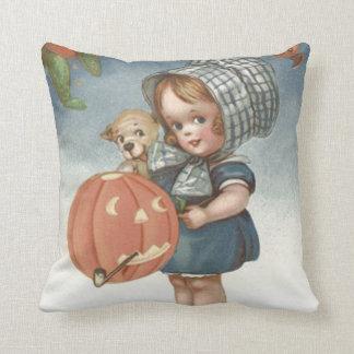 Girl Puppy Jack O Lantern Pumpkin Pillow