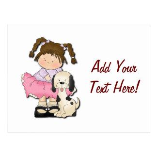 Girl & Puppy (Pink) Postcard
