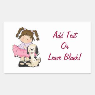 Girl & Puppy (Pink) Rectangular Sticker