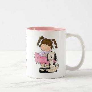 Girl & Puppy (Pink) Two-Tone Coffee Mug