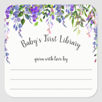 Girl Purple floral bookplate, book baby shower Square Sticker