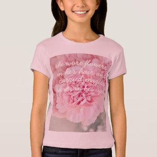 Girl quote pink peony flower bloom petals closeup T-Shirt