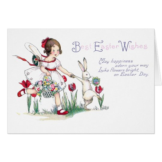 Girl, Rabbit and Easter Flowers Card