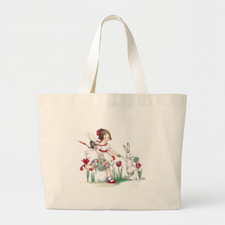 Girl, Rabbit and Easter Flowers Large Tote Bag