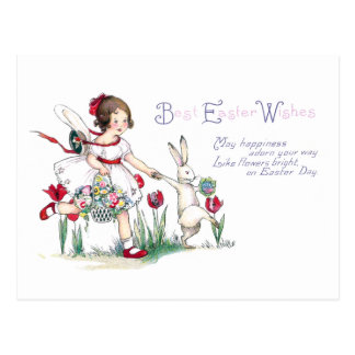 Girl, Rabbit and Easter Flowers Postcard